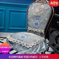 优选欧式椅子套靠背套装罩防滑餐厅家用坐垫布艺椅垫凳子四季通用 自店营年货