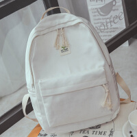 原宿韩版新款小豆芽帆布双肩包女纯色简约高中学生书包休闲电脑包 白色