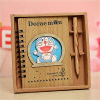 创意可爱木质日记本子叮当猫精致笔记本礼盒套装毕业礼物学生文具