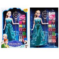冰雪奇缘娃娃爱莎公主玩具安娜套装艾莎芭芘娃娃女孩玩具爱沙单个 12关节 艾莎公主礼品装 送填色本、4条裙子
