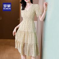 【2折预估到手价:154叠券更优惠】罗蒙女士夏季连衣裙清新可爱显瘦显高收腰V领连衣裙
