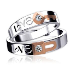 梦克拉 18K金情侣钻石戒指 结婚求婚钻戒 LOVE字母戒 彩金love