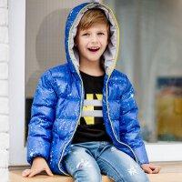 美特斯邦威旗下Moomoo童装冬季男童短款连帽拉链羽绒服星空色保暖儿童