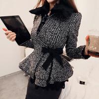 秋冬新款韩版修身短款外套女式荷叶边下摆翻领束腰毛呢外套 深灰色