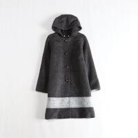 女秋冬中长款毛呢外套 连帽拼接修身学生呢子大衣 2