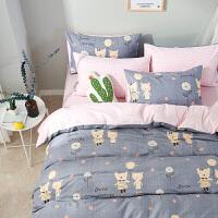 全棉简约小清新床上用品卡通床单被套1.8m床单双人被子四件套纯棉 梦幻精灵