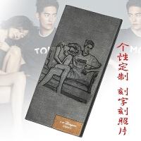 新款男士长款钱包日韩版皮夹时尚青年软个性定制刻字照片