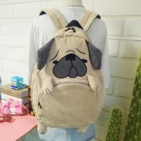 日系小清新可爱卡通动物双肩包灯芯绒大容量书包学生背包