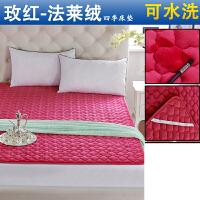 榻榻米垫子床垫床褥法兰绒双人1.8m床冬季毛毯珊瑚法莱绒垫被单人 玫红色 【法莱绒】梅花款