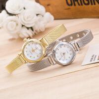 韩版潮流女士合金细网带手表学生时尚金色镶钻石英表