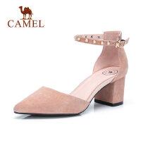 camel 骆驼女鞋春新款一字扣chic单鞋女粗跟尖头真皮高跟鞋韩版百搭