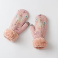 兔羊毛手套女冬挂脖保暖手套女冬 针织 手套女冬 加厚保暖 均码