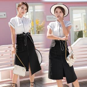 风轩衣度 套装/套裙2018年夏季韩版时尚气质修身显瘦短袖中长款 2505-931