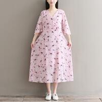 孕妇夏装韩版雪纺碎花V领森女系短袖中长款大码宽松小清新连衣裙SN4180 粉红色--V领--腰带款