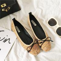 甜美蝴蝶结单鞋女平底鞋韩版圆头浅口学生鞋百搭芭蕾舞鞋平跟女鞋