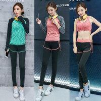 跑步服显瘦长袖上衣胸衣裤子三件套女 新款瑜伽服套装女健身房运动套装