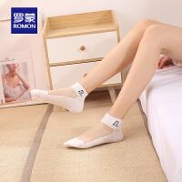 【预估到手价:44叠券更优惠】罗蒙女士水晶冰丝短筒袜夏季薄款舒适纯色女袜可爱日系棉袜女