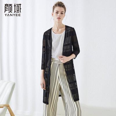 颜域女装新款蕾丝镂空外披空调衫薄黑色中长款拼接开衫2018夏款女