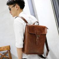 0604235828429双肩包男旅游包时尚潮流男士背包大容量PU皮包包韩版学生书包 咖啡色