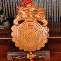木雕葫芦化解卫生间污口门对门 桃木兽头挂件八卦镜