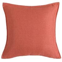美式简约沙发蓝色抱枕新中式现代纯色双面靠垫靠枕样板房装饰布艺 桔红色 15-红橙