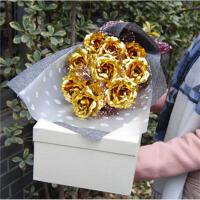 七彩金箔玫瑰花香皂花 仿真玫瑰花束花束 生日表白情人节礼物 11金箔花 麻灰 镂盒