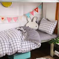 ???网红单人床单单件大学生女宿舍纯棉床上用品三件套被单21.2米被套 乳白色 城市心情