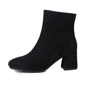 WARORWAR法国2019新品YG05-20703冬季欧美磨砂绒反绒粗跟鞋高跟鞋女鞋潮流时尚潮鞋百搭潮牌靴子切尔西靴短靴