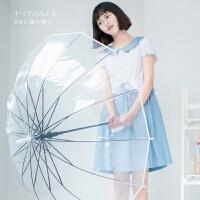 韩国创意透明雨伞折叠学生公主儿童小清新日本晴雨樱花长柄伞女神 白色 14骨透明伞