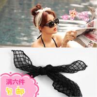 韩国欧根纱 李菲儿刘涛同款绑带兔耳朵蕾丝发带发箍发饰