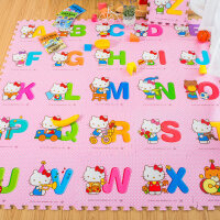 拼图地垫泡沫爬爬垫宝宝儿童婴儿爬行垫拼接加厚家用游戏垫 hello Kitty猫字母(26片) 30*30*1CM(整