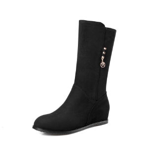WARORWAR法国2019新品YG11-6088冬季欧美反绒内增高坡跟低跟鞋女鞋潮流时尚潮鞋百搭潮牌靴子马丁靴短靴