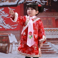 华樽堂儿童旗袍女童冬季绸缎新年冬装礼服格格旗袍棉唐装中国风