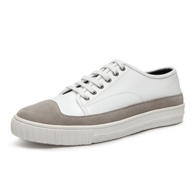 冬季新款透气男鞋子韩版真皮板鞋男士休闲鞋学生拼接小白鞋男鞋潮