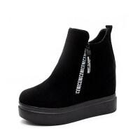 秋季短靴女2018新款女鞋内增高厚底马丁靴百搭冬季加绒磨砂女靴子 黑色