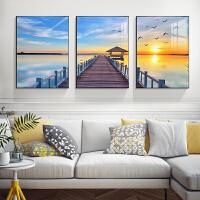 客厅装饰画海景背景墙壁画地中海风格装饰客厅墙面装饰地中海挂画 海的阶梯 50*70 冰晶玻璃(25MM 现货) 拼套