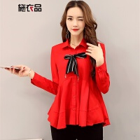 施衣品长袖雪纺衫女士秋季纯色POLO领简约百搭甜美时尚衬衫 红色 S