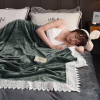 蕾丝毛毯被子加厚保暖法兰绒珊瑚绒床单冬季沙发毯空调毛巾被毯子 150cmX200cm 工艺花边加厚保暖床单/盖毯
