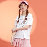 美特斯邦威可爱短袖T恤女士打底衫学生半袖衫韩风2018夏季新款9