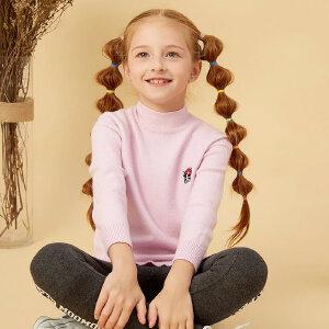 【2件2.5折到手价:31.5】美特斯邦威旗下童装moomoo童装中大童高领套头毛衫新款前开衩长款针织毛衫女童