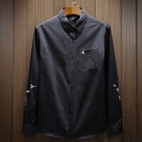 韩版男士大码衬衣秋装2018休闲黑白衬衫长袖外套修身秋帅气小鸟刺绣