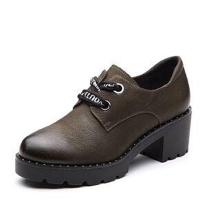 Teenmix/天美意2018春专柜同款牛皮粗跟字母系带鞋女单鞋CCI20AM8