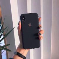 苹果7手机壳iphone8plus磨砂软套6露标xr志漏logo女款max男士xs潮酒红色女款简约硅 黑色露标磨砂(软