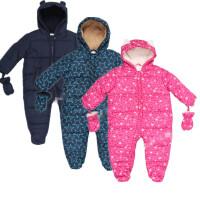 男女童秋冬季 加厚保暖外出服宝宝婴儿夹棉连体衣小熊爬服