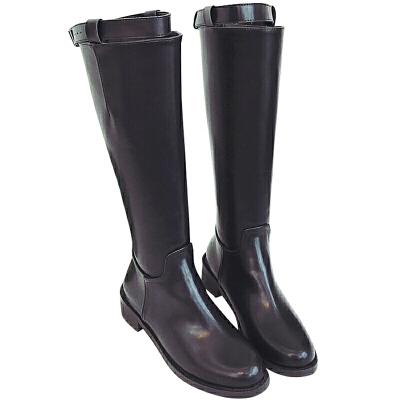 高筒靴子女高跟不过膝长靴秋冬季2018新款百搭中筒靴女粗跟马丁靴 黑色