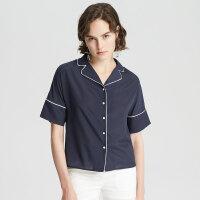 【1件3折到手价:88.5】MECITY女装夏新品简约舒适翻领短袖拼色衬衫
