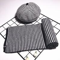 儿童帽子围巾套装秋冬季宝宝毛线帽女童针织帽保暖百搭贝雷帽 均码