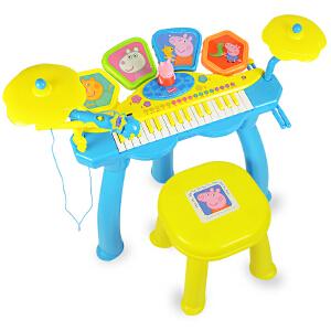 Peppa Pig 小猪佩奇佩奇的宝贝琴鼓玩具初学者架子鼓小钢琴带麦克风儿童礼物
