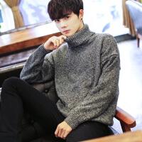 针织衫 男士长袖高领落肩宽松套头衫秋季新款韩版男式时尚休闲舒适百搭学生毛衣