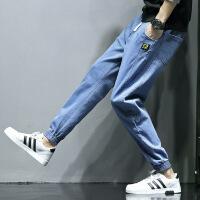 牛仔裤男宽松工装裤男士休闲长裤子韩版潮流大码加绒小脚秋季冬